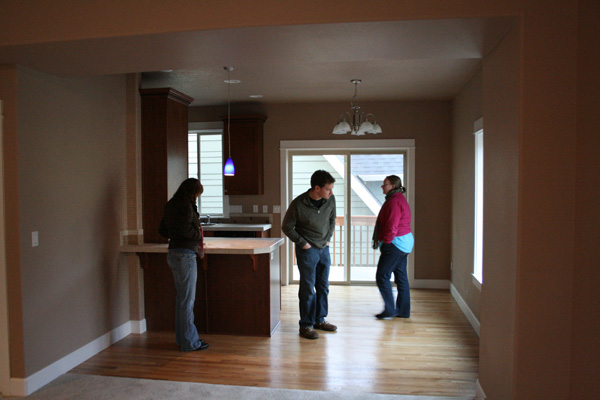 People touring an open house