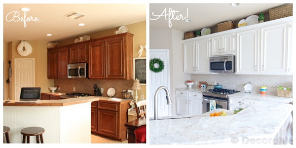 kitchen makeover goes white with paint and laminate. Black Bedroom Furniture Sets. Home Design Ideas