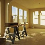 Sawhorse in empty room of house